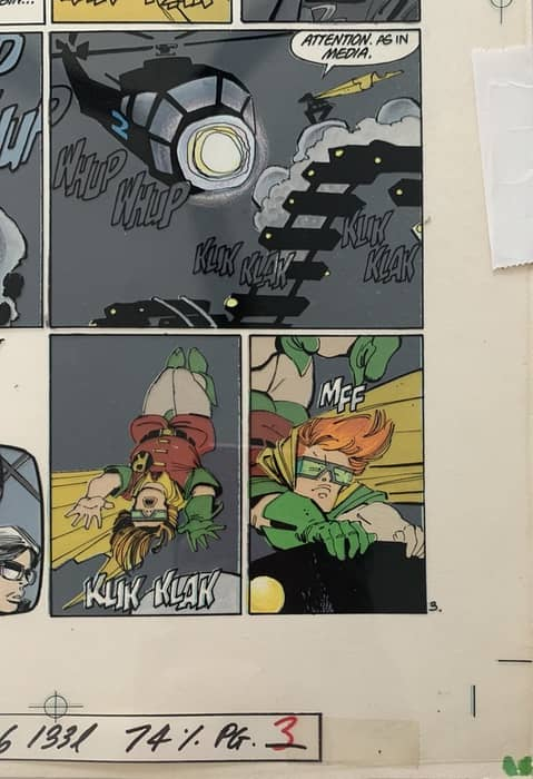 Lynn Varley painted colors on Batman: Dark Knight Returns (overlay dropped over the color)
