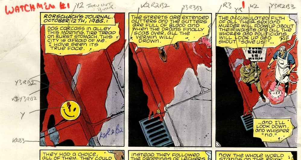 Detail of original color guide for Dave Gibbons Watchmen #1 Page 1