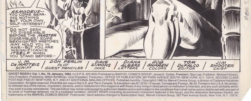 """Indicia on title page for the story """"Half a Demon... Half a Man!"""" in Ghost Rider #76 (1983)"""