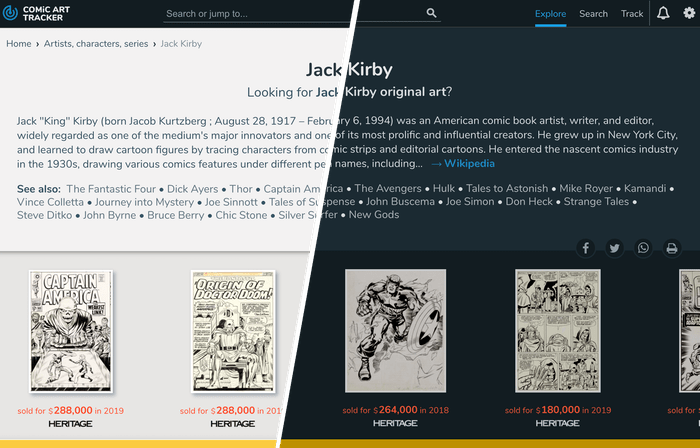 Light and dark modes on ComicArtTracker
