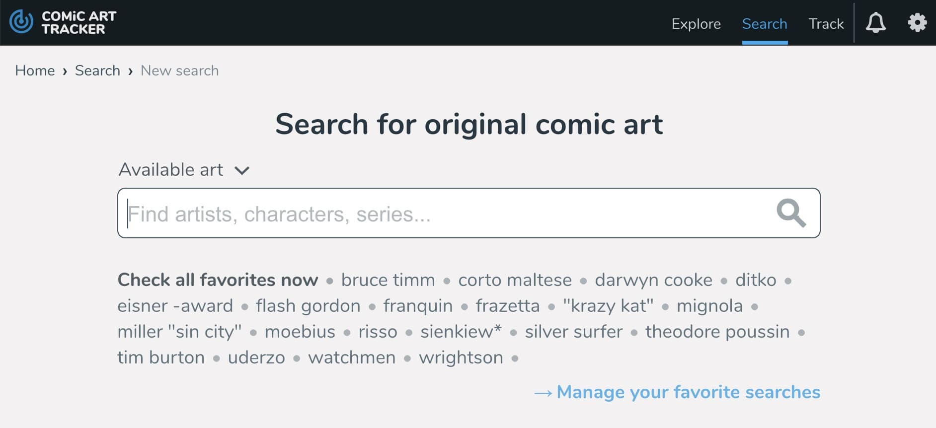 Manage your favorite keywords on ComicArtTracker