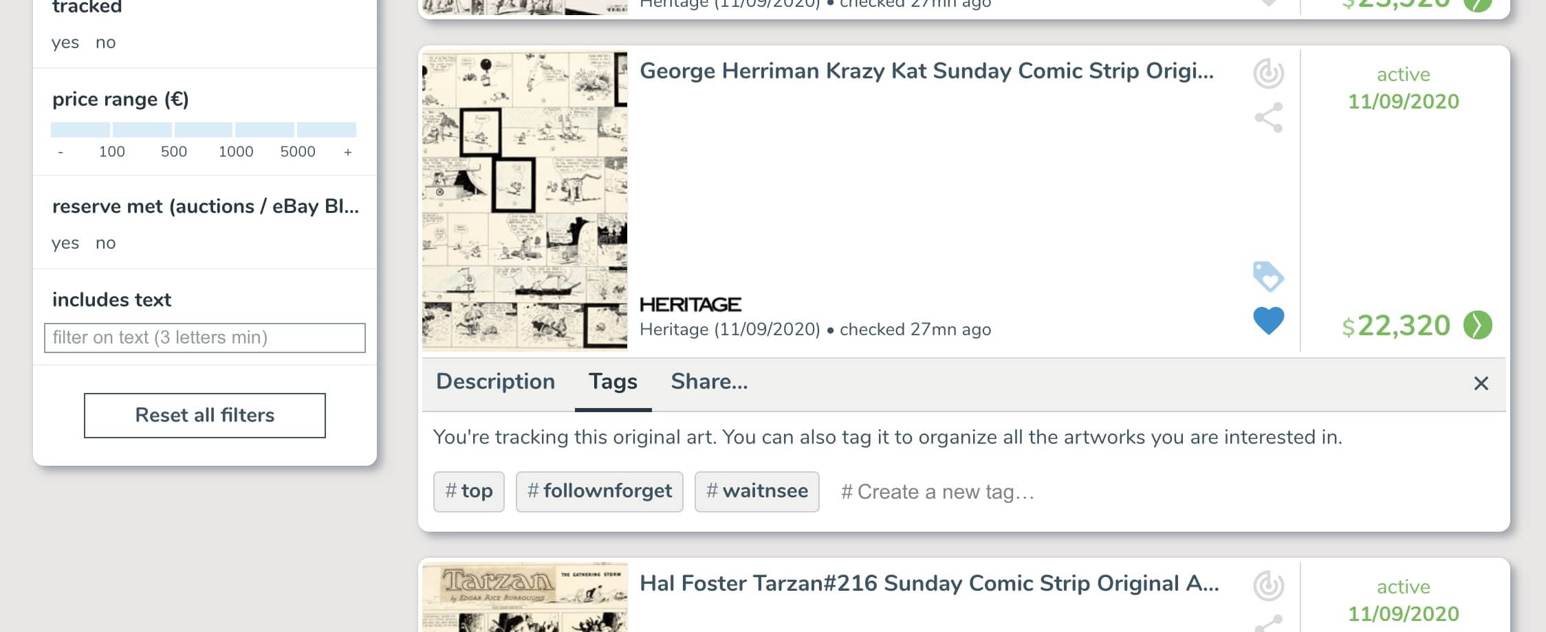 Organize your tracking list on ComicArtTracker