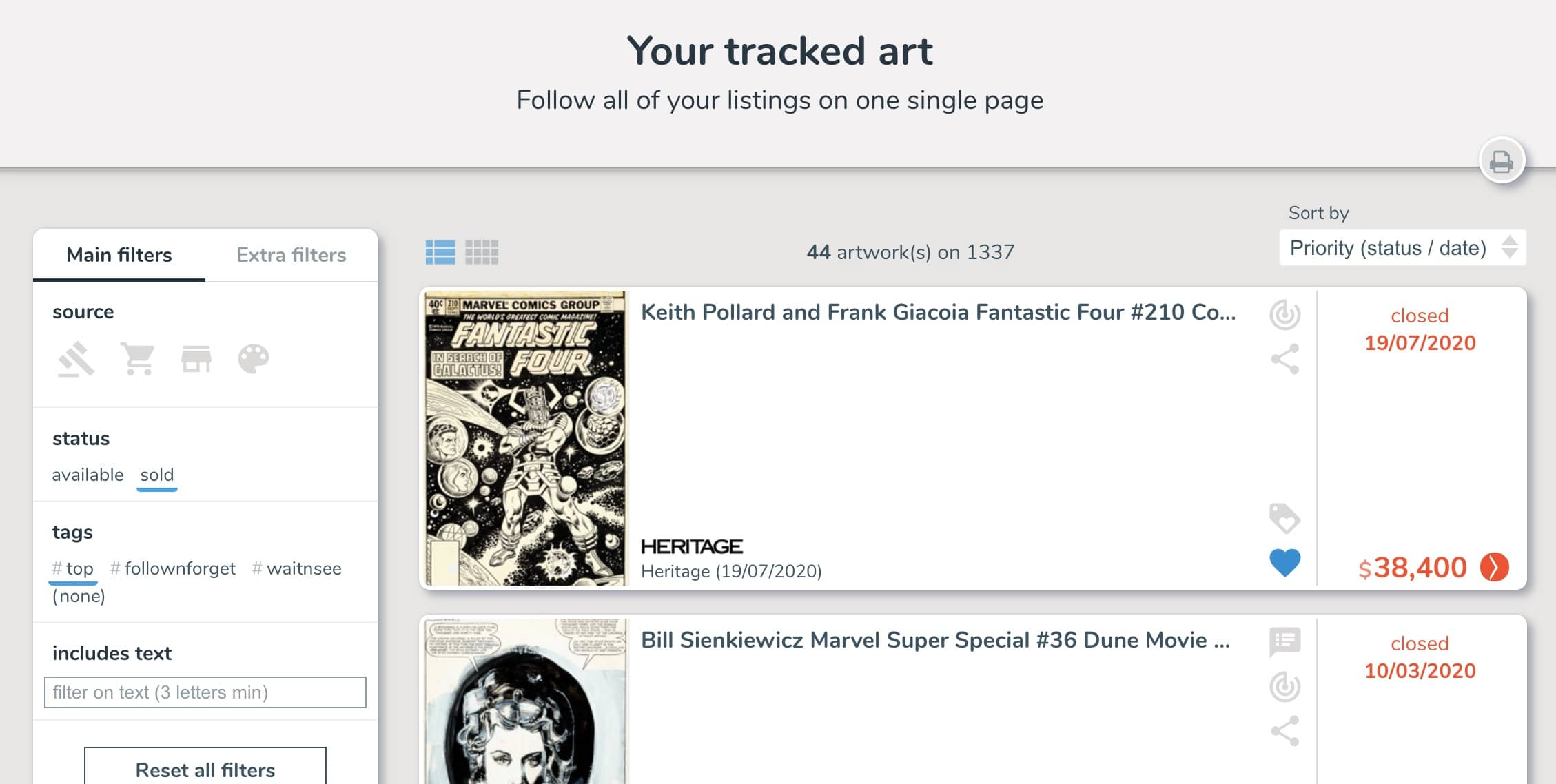Filter your tracking list with tags on ComicArtTracker