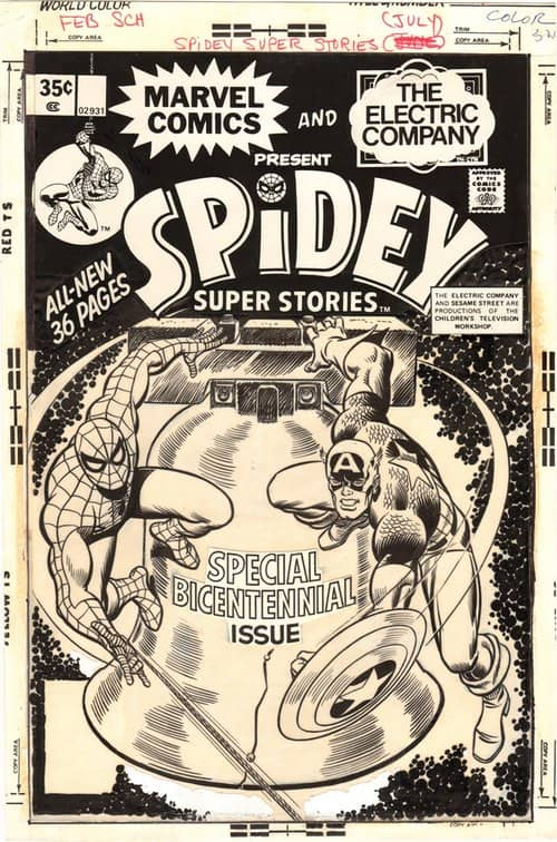 Spidey Super Stories #17 Cover (1976) by John Romita Sr - vellum mounted on board